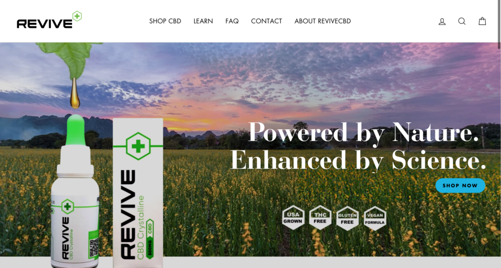 Revive CBD Website Screenshot