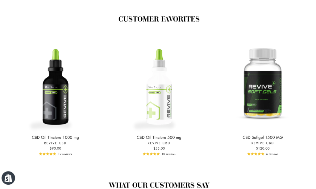 Revive CBD Bottles Website Redesign Image