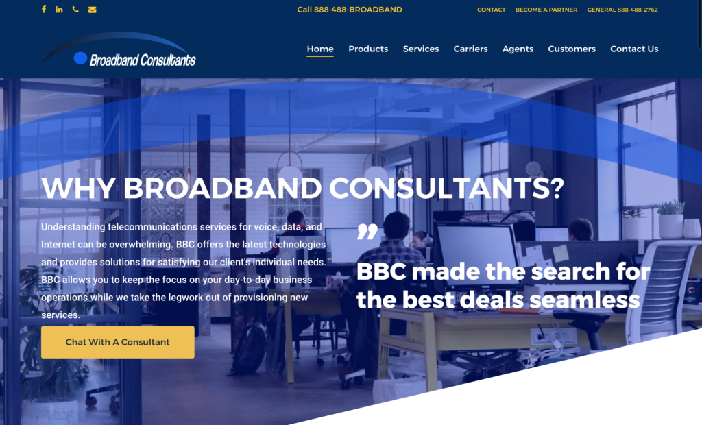 Broadband Consultants Telecom Agency Web Design Case study